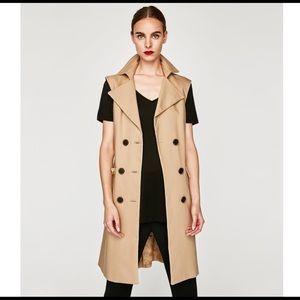 Zara Trench Coat Vest Waistcoat Dress
